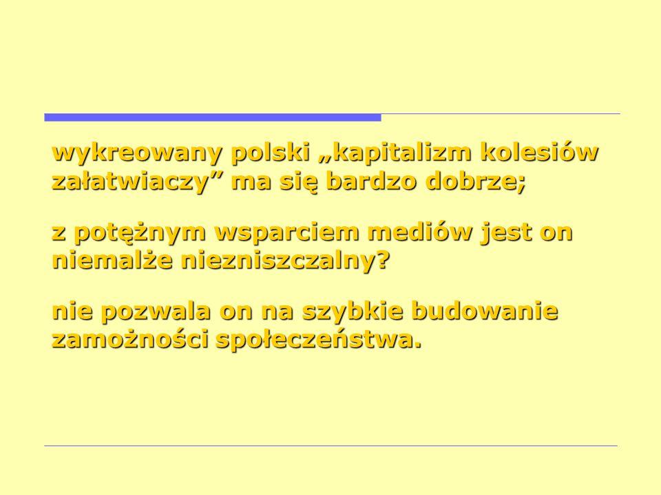 """wykreowany polski """"kapitalizm kolesiów załatwiaczy ma się bardzo dobrze;"""