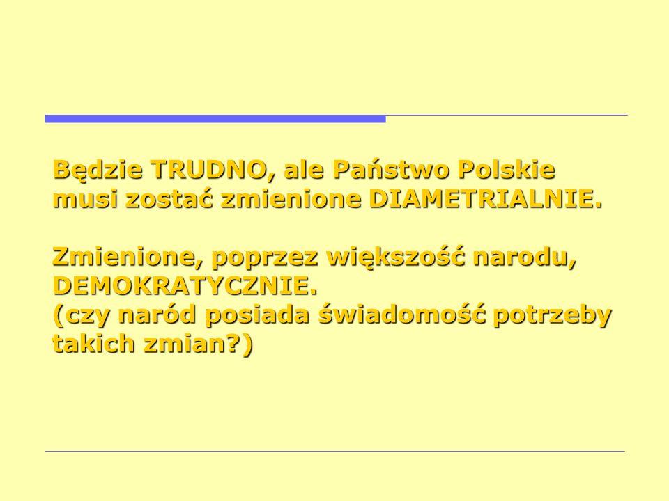 Będzie TRUDNO, ale Państwo Polskie musi zostać zmienione DIAMETRIALNIE.