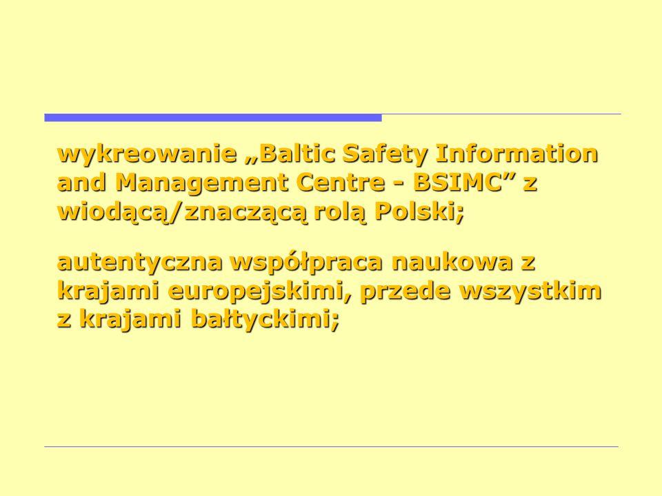 """wykreowanie """"Baltic Safety Information and Management Centre - BSIMC z wiodącą/znaczącą rolą Polski;"""