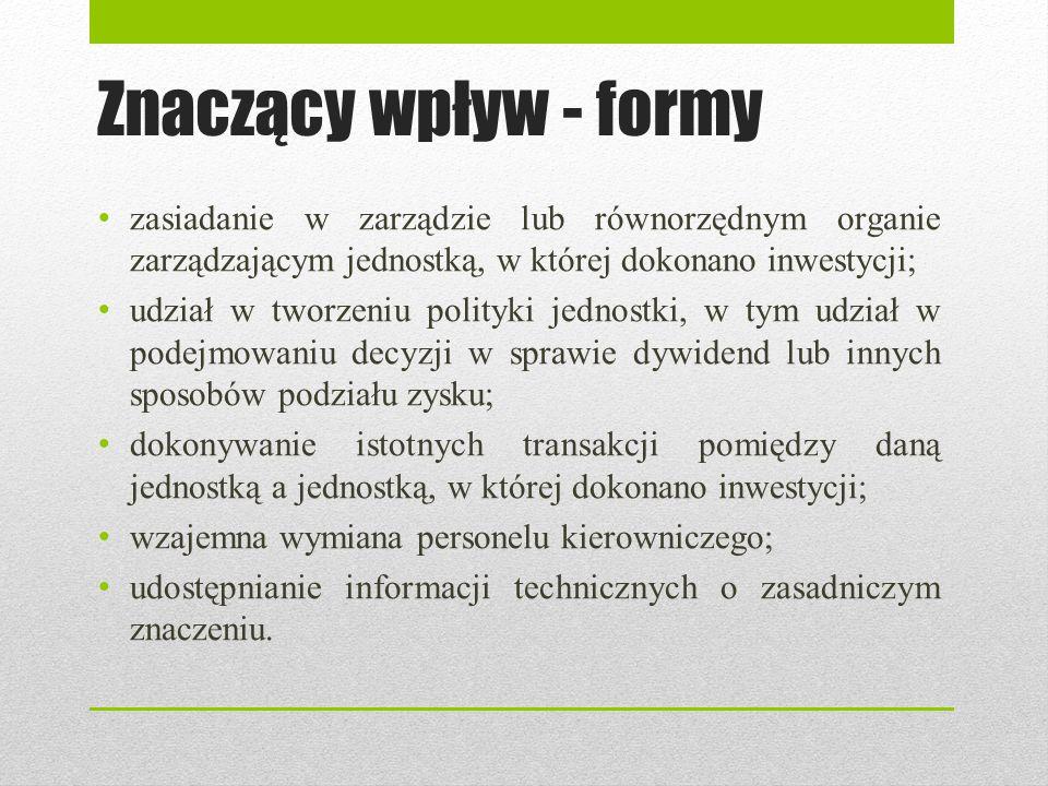 Znaczący wpływ - formy zasiadanie w zarządzie lub równorzędnym organie zarządzającym jednostką, w której dokonano inwestycji;