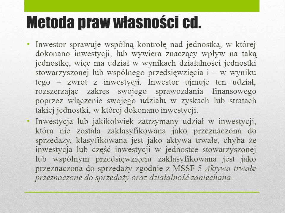 Metoda praw własności cd.