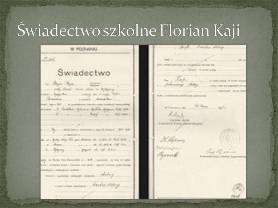 Świadectwo szkolne Florian Kaji