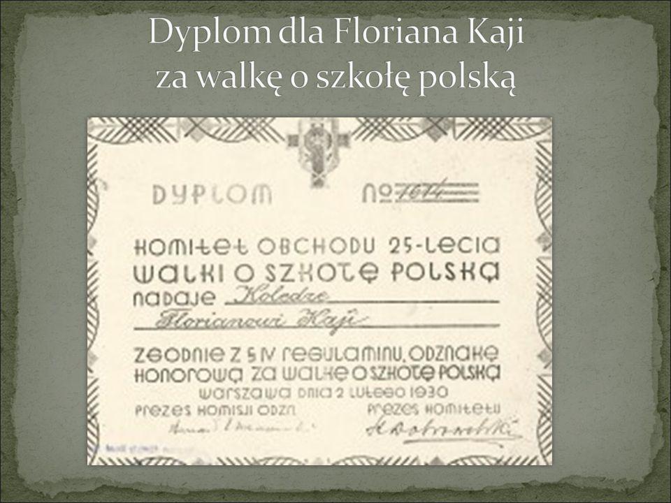 Dyplom dla Floriana Kaji za walkę o szkołę polską
