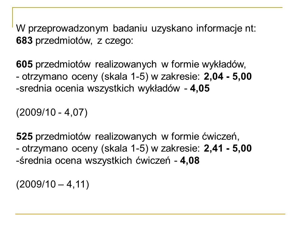 W przeprowadzonym badaniu uzyskano informacje nt: