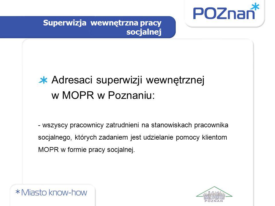 Adresaci superwizji wewnętrznej w MOPR w Poznaniu: