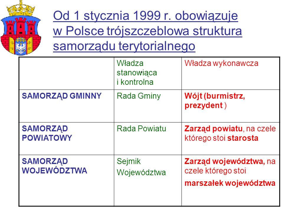 Od 1 stycznia 1999 r. obowiązuje w Polsce trójszczeblowa struktura samorządu terytorialnego