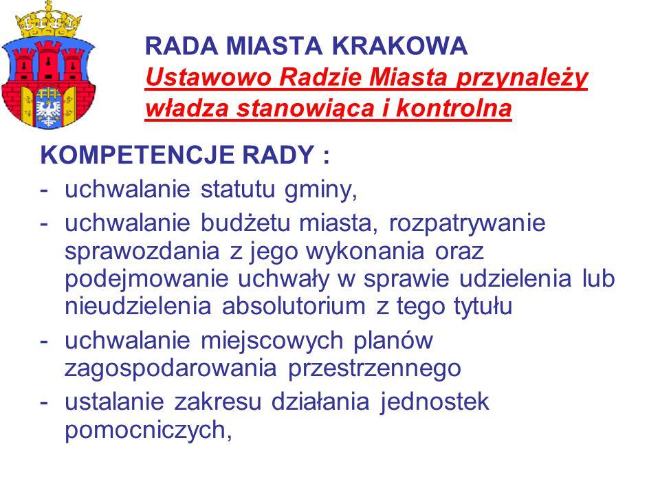 RADA MIASTA KRAKOWA Ustawowo Radzie Miasta przynależy władza stanowiąca i kontrolna