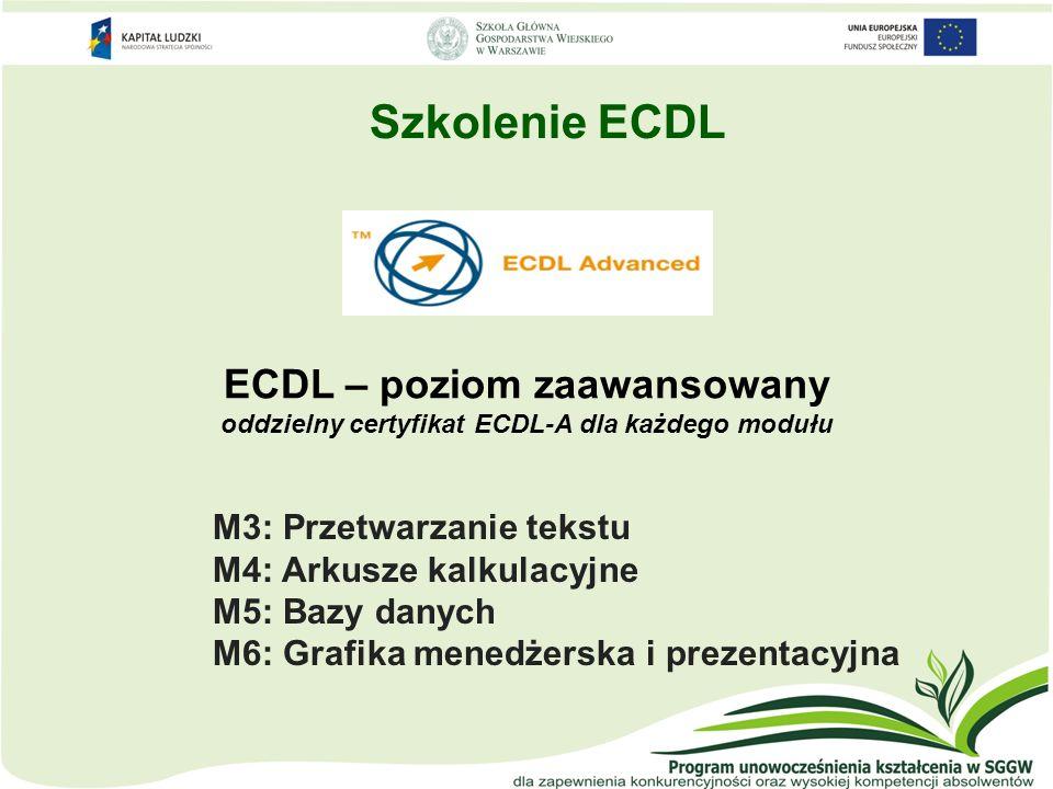 Szkolenie ECDL ECDL – poziom zaawansowany oddzielny certyfikat ECDL-A dla każdego modułu. M3: Przetwarzanie tekstu.