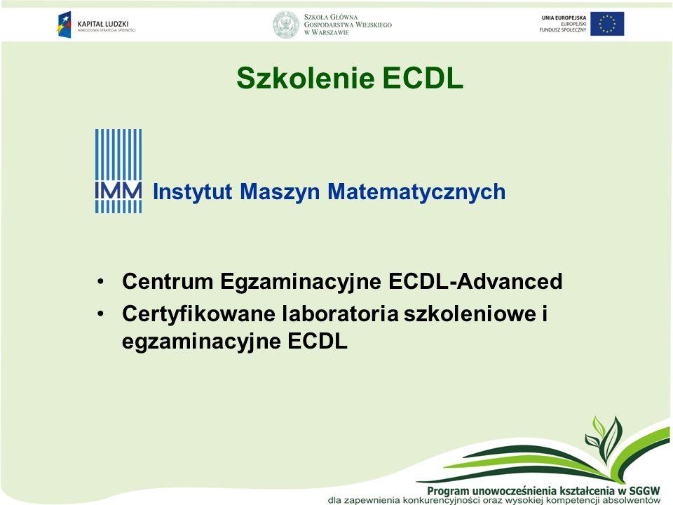 Szkolenie ECDL Instytut Maszyn Matematycznych