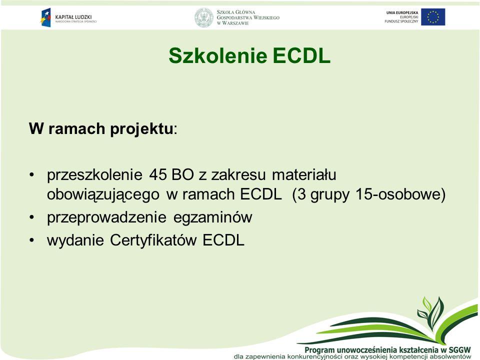 Szkolenie ECDL W ramach projektu: