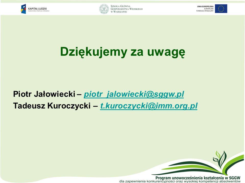 Dziękujemy za uwagę Piotr Jałowiecki – piotr_jalowiecki@sggw.pl