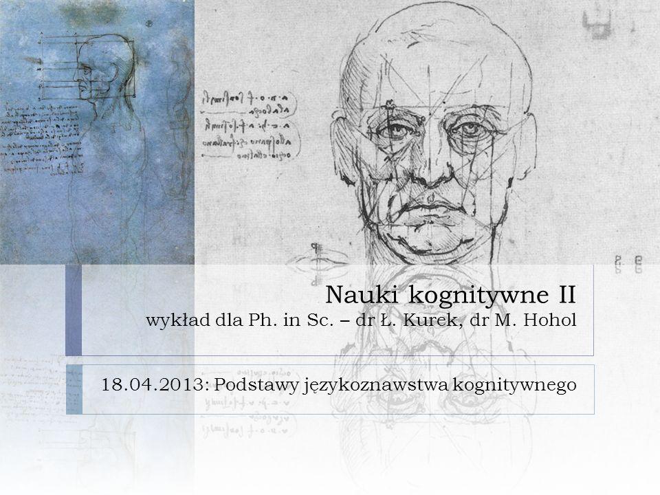Nauki kognitywne II wykład dla Ph. in Sc. – dr Ł. Kurek, dr M. Hohol