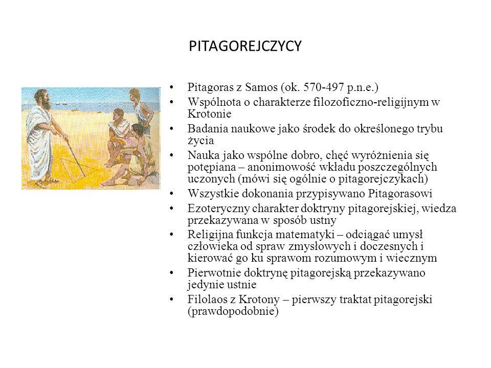 PITAGOREJCZYCY Pitagoras z Samos (ok. 570-497 p.n.e.)