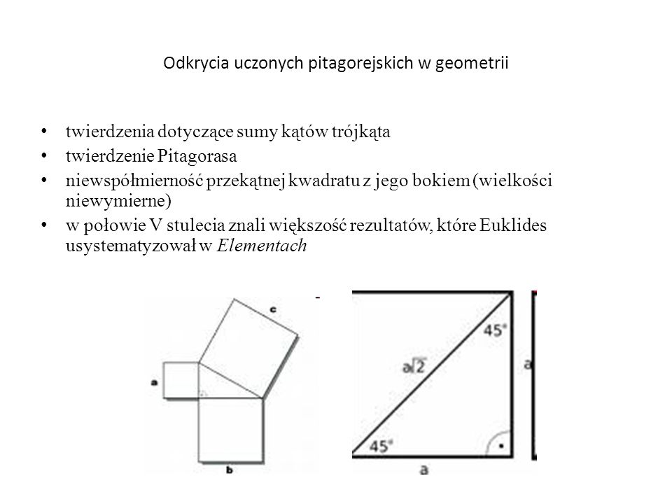 Odkrycia uczonych pitagorejskich w geometrii