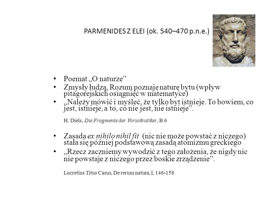 PARMENIDES Z ELEI (ok. 540–470 p.n.e.)