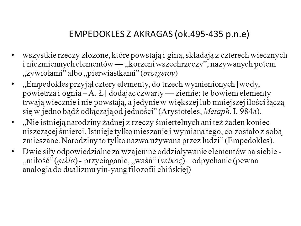 EMPEDOKLES Z AKRAGAS (ok.495-435 p.n.e)