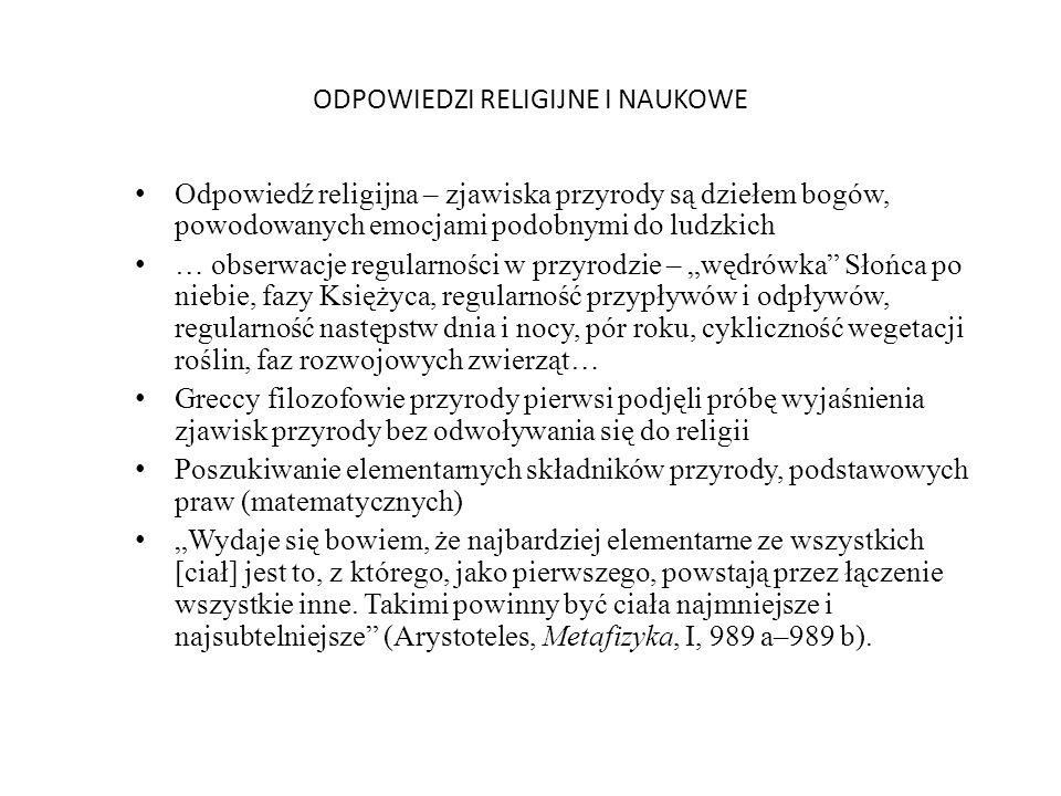 ODPOWIEDZI RELIGIJNE I NAUKOWE