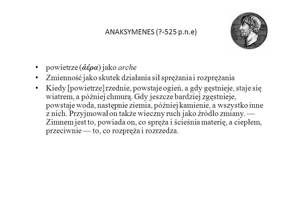ANAKSYMENES ( -525 p.n.e) powietrze (άέρα) jako arche. Zmienność jako skutek działania sił sprężania i rozprężania.
