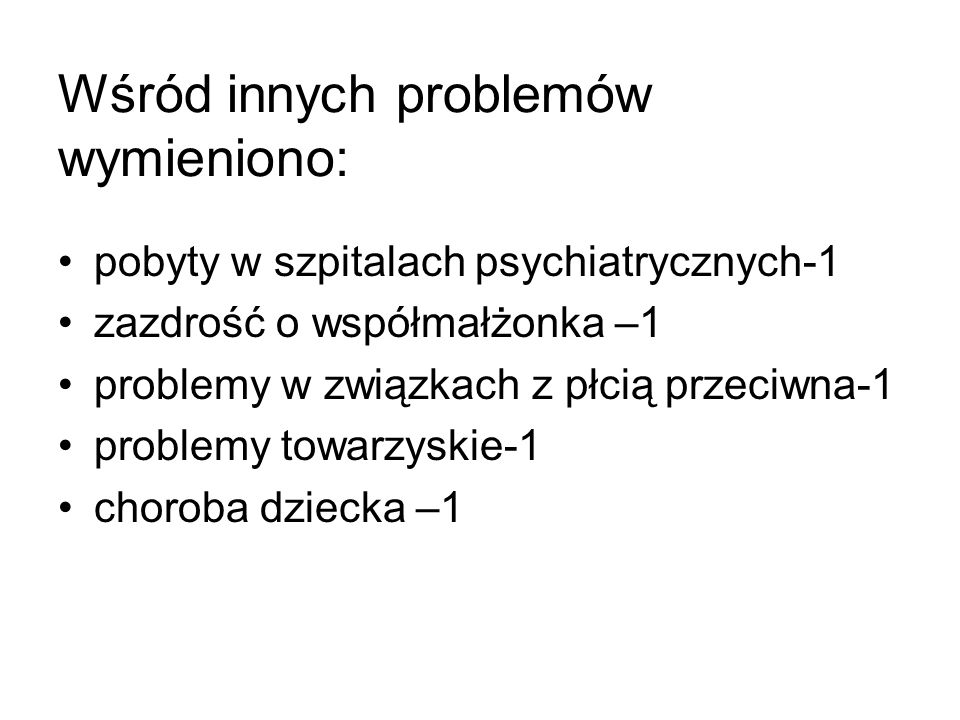Wśród innych problemów wymieniono: