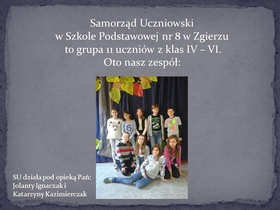Samorząd Uczniowski w Szkole Podstawowej nr 8 w Zgierzu to grupa 11 uczniów z klas IV – VI. Oto nasz zespół: