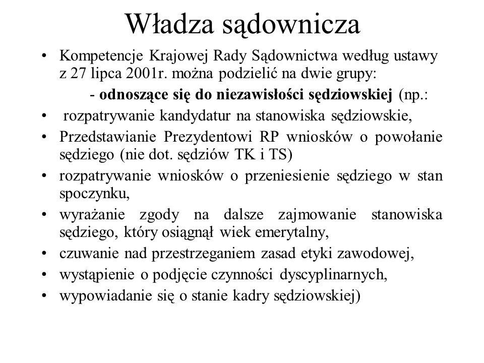 Władza sądownicza Kompetencje Krajowej Rady Sądownictwa według ustawy z 27 lipca 2001r. można podzielić na dwie grupy:
