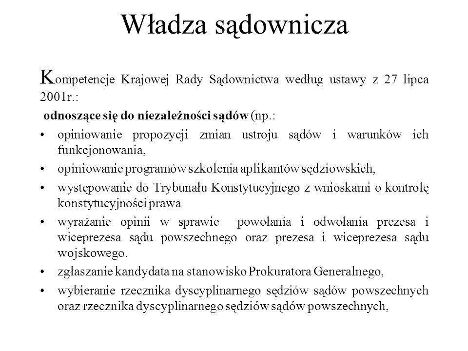 Władza sądownicza Kompetencje Krajowej Rady Sądownictwa według ustawy z 27 lipca 2001r.: odnoszące się do niezależności sądów (np.: