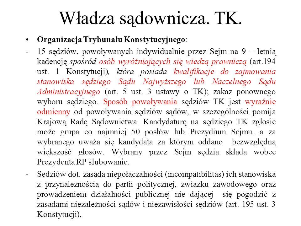Władza sądownicza. TK. Organizacja Trybunału Konstytucyjnego: