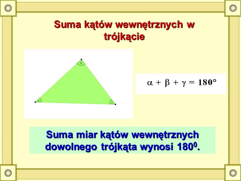 Suma kątów wewnętrznych w trójkącie