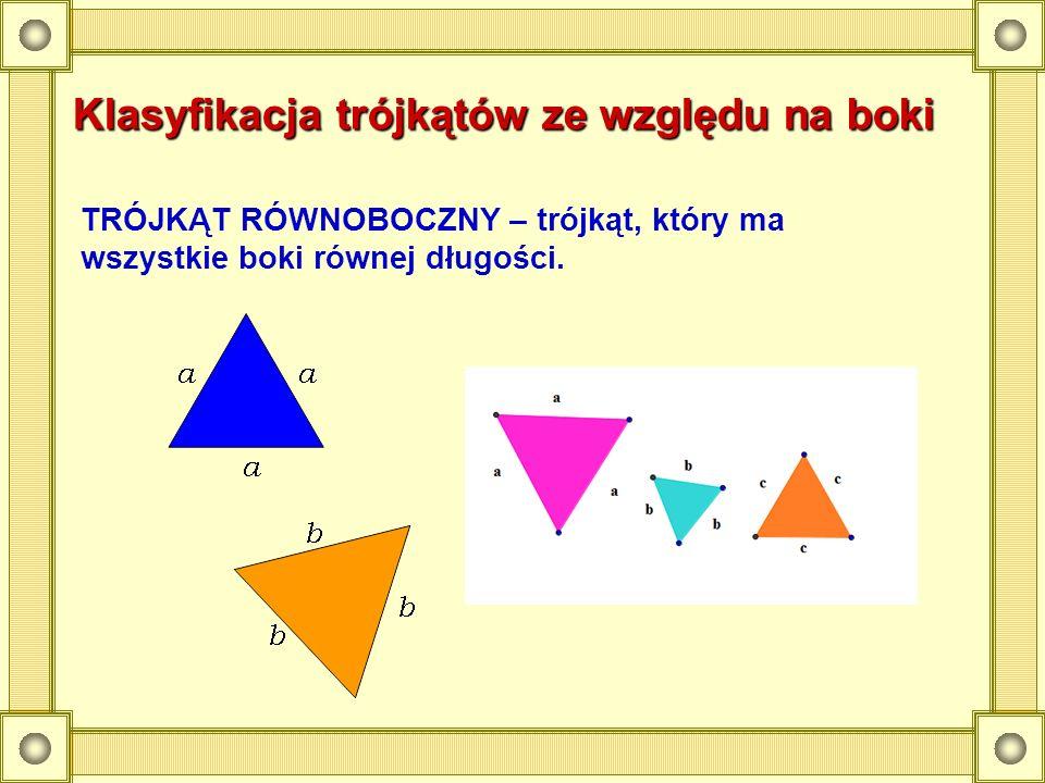 Klasyfikacja trójkątów ze względu na boki