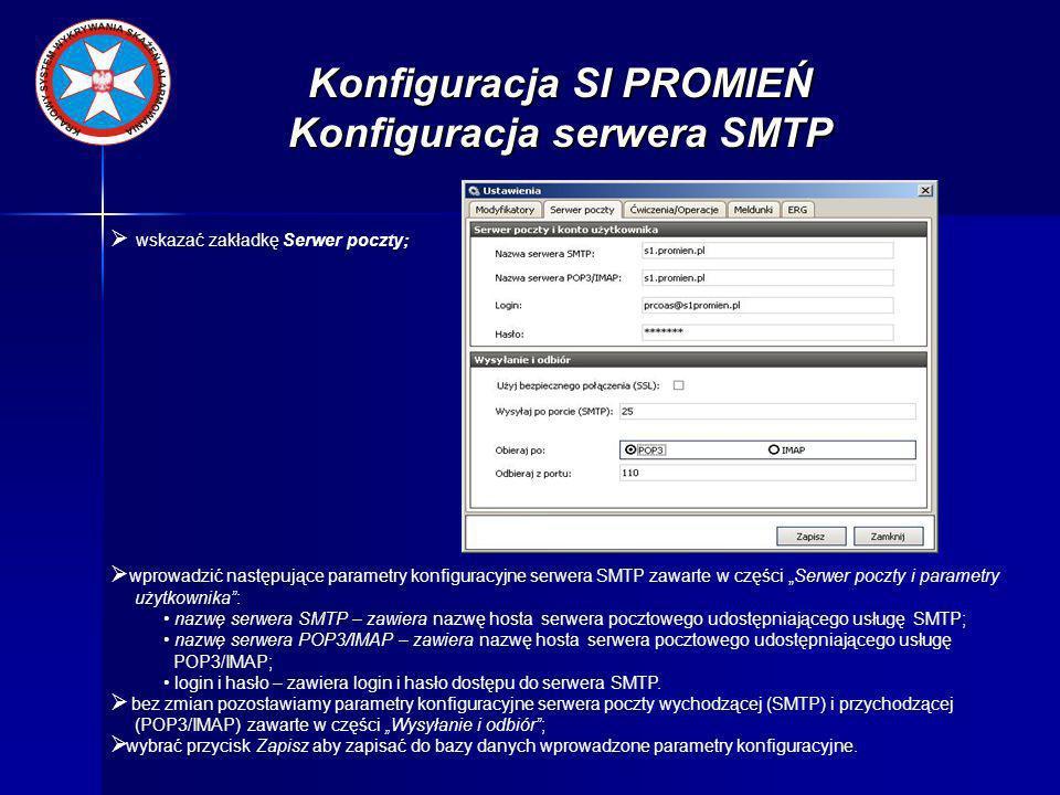 Konfiguracja SI PROMIEŃ Konfiguracja serwera SMTP