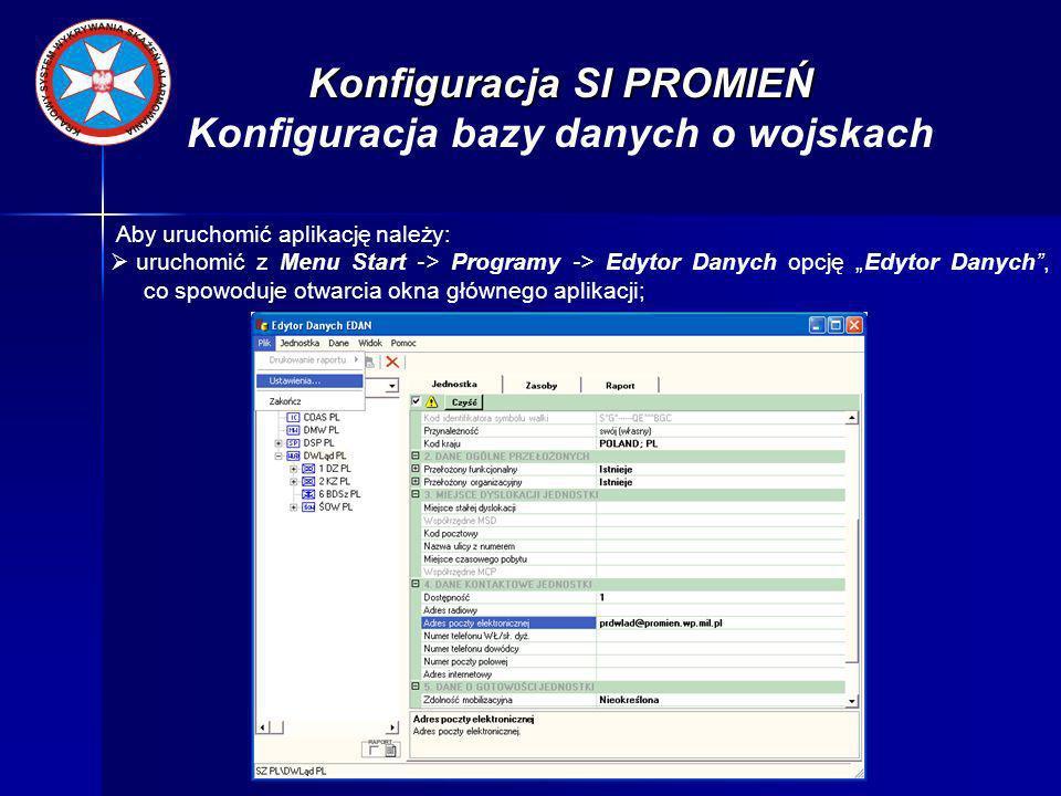 Konfiguracja SI PROMIEŃ Konfiguracja bazy danych o wojskach