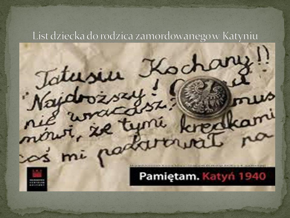 List dziecka do rodzica zamordowanego w Katyniu