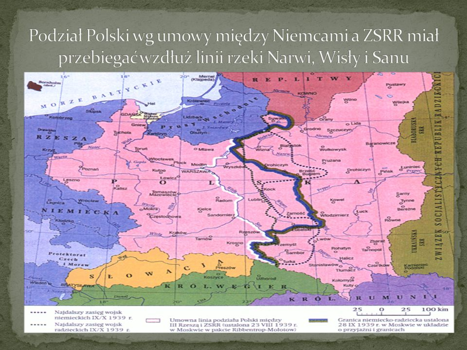 Podział Polski wg umowy między Niemcami a ZSRR miał przebiegać wzdłuż linii rzeki Narwi, Wisły i Sanu