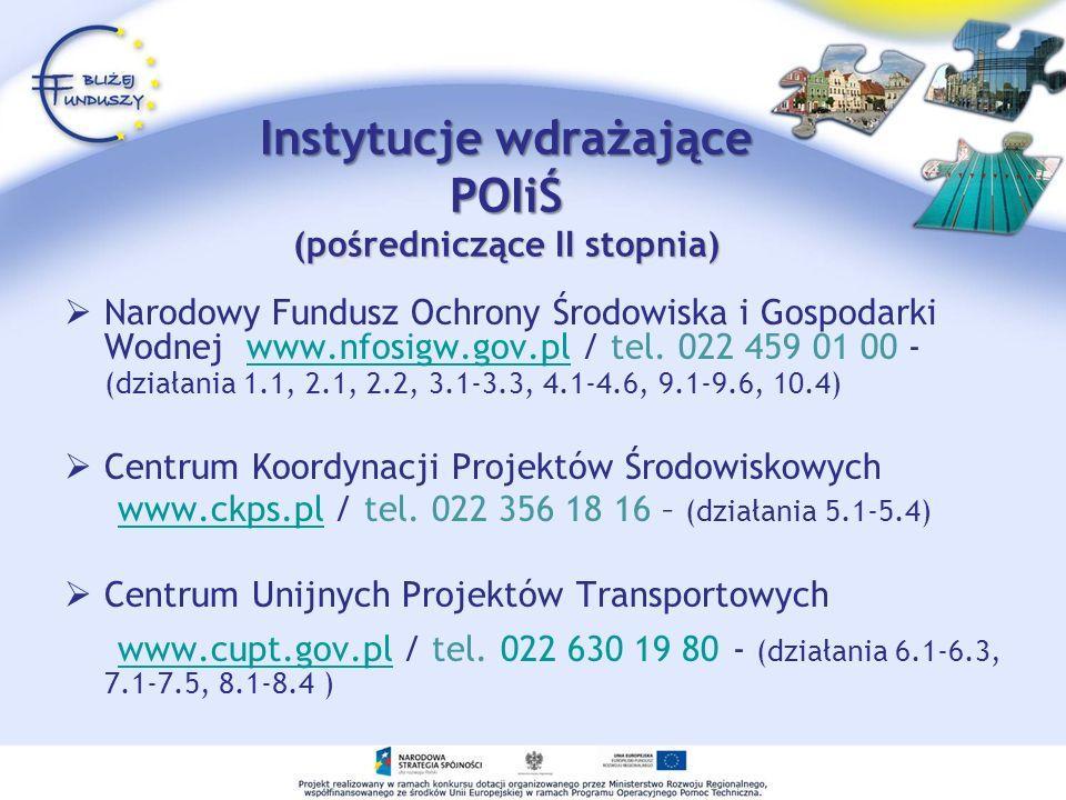 Instytucje wdrażające POIiŚ (pośredniczące II stopnia)