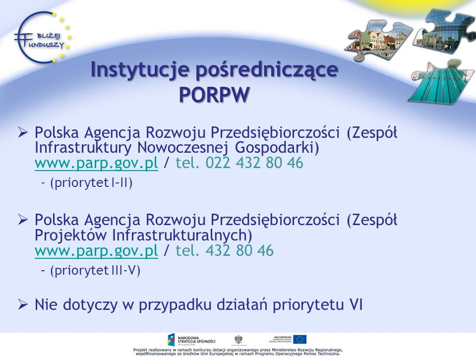Instytucje pośredniczące PORPW