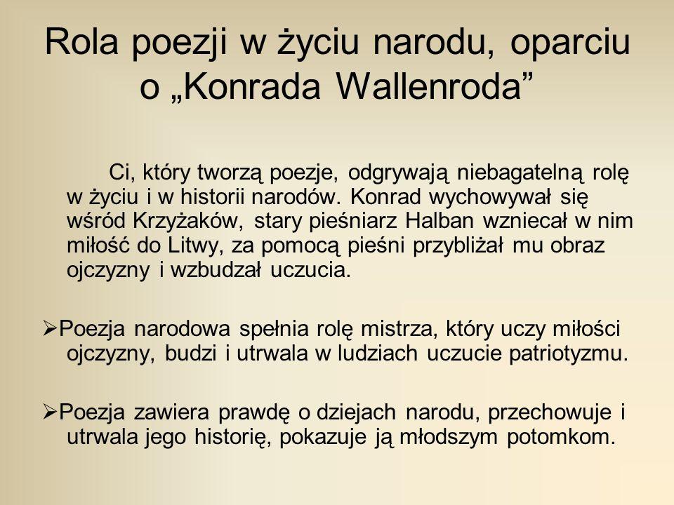 """Rola poezji w życiu narodu, oparciu o """"Konrada Wallenroda"""