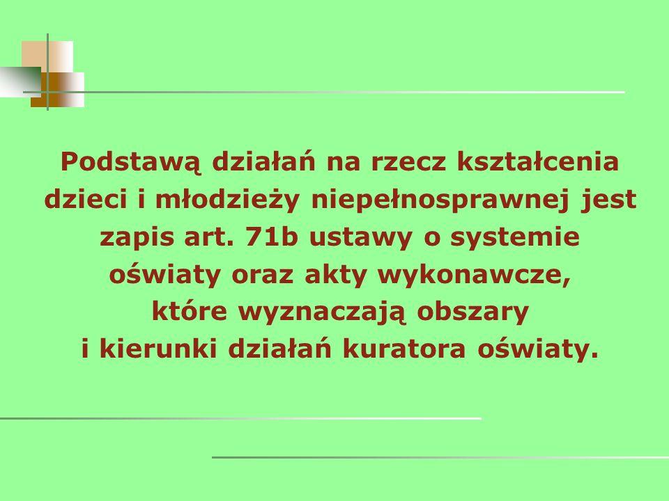 Podstawą działań na rzecz kształcenia dzieci i młodzieży niepełnosprawnej jest zapis art.