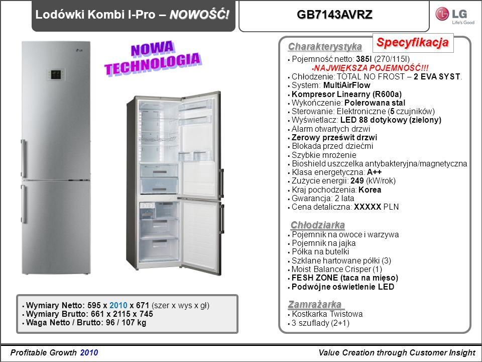 NOWA TECHNOLOGIA Lodówki Kombi I-Pro – NOWOŚĆ! GB7143AVRZ Specyfikacja