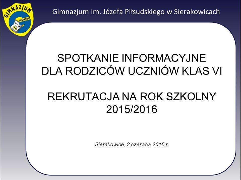 SPOTKANIE INFORMACYJNE DLA RODZICÓW UCZNIÓW KLAS VI REKRUTACJA NA ROK SZKOLNY 2015/2016 Sierakowice, 2 czerwca 2015 r.