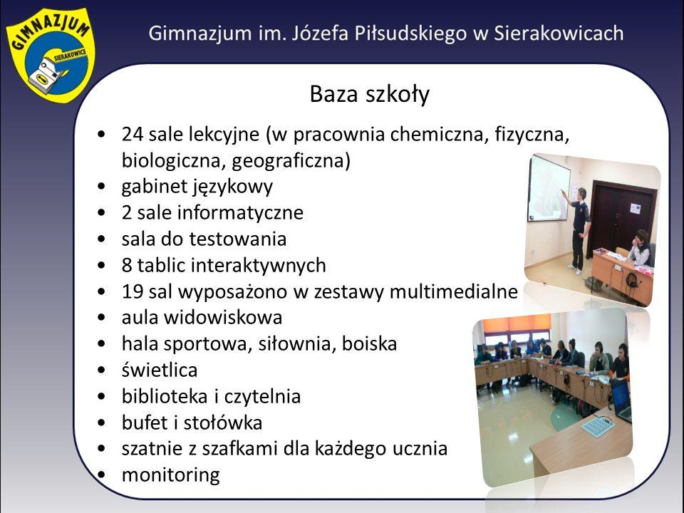 Baza szkoły 24 sale lekcyjne (w pracownia chemiczna, fizyczna, biologiczna, geograficzna) gabinet językowy.