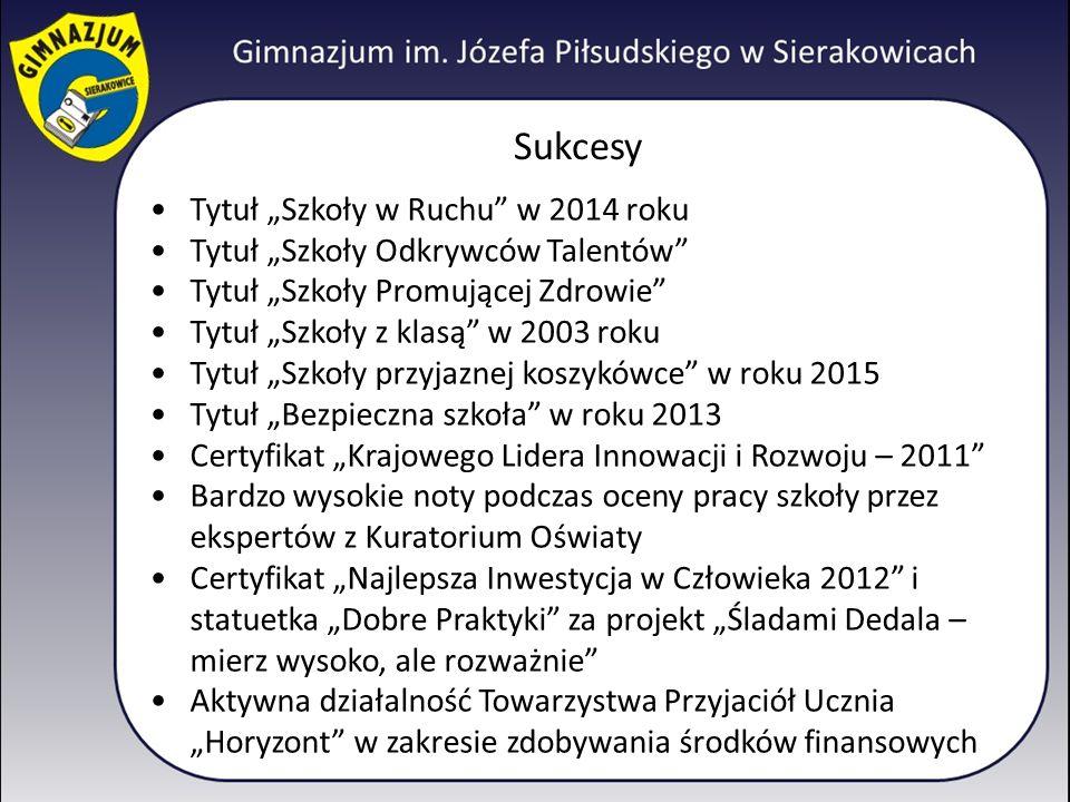 """Sukcesy Tytuł """"Szkoły w Ruchu w 2014 roku"""