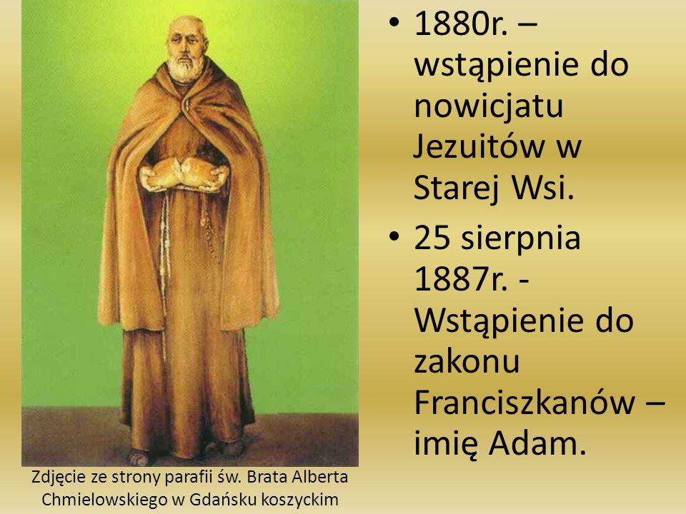 1880r. – wstąpienie do nowicjatu Jezuitów w Starej Wsi.