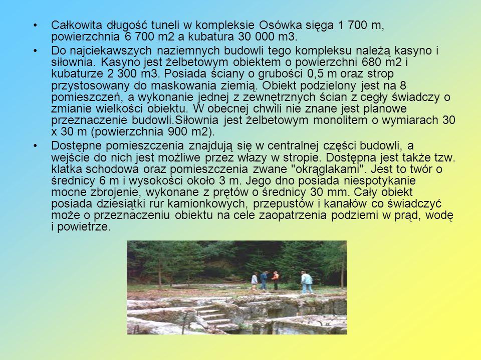 Całkowita długość tuneli w kompleksie Osówka sięga 1 700 m, powierzchnia 6 700 m2 a kubatura 30 000 m3.