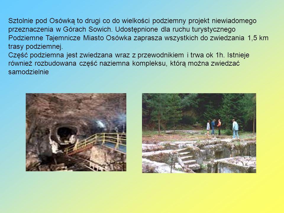Sztolnie pod Osówką to drugi co do wielkości podziemny projekt niewiadomego przeznaczenia w Górach Sowich. Udostępnione dla ruchu turystycznego Podziemne Tajemnicze Miasto Osówka zaprasza wszystkich do zwiedzania 1,5 km trasy podziemnej.