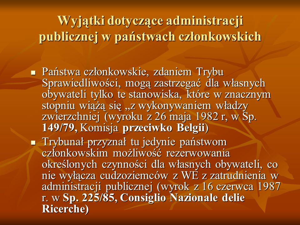 Wyjątki dotyczące administracji publicznej w państwach członkowskich