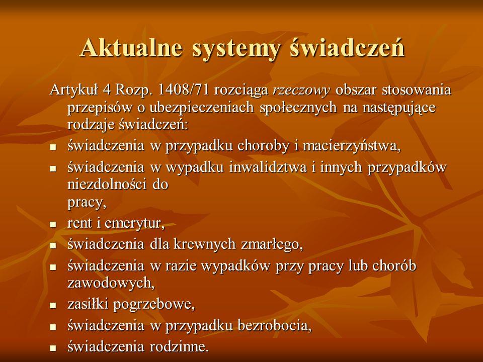 Aktualne systemy świadczeń