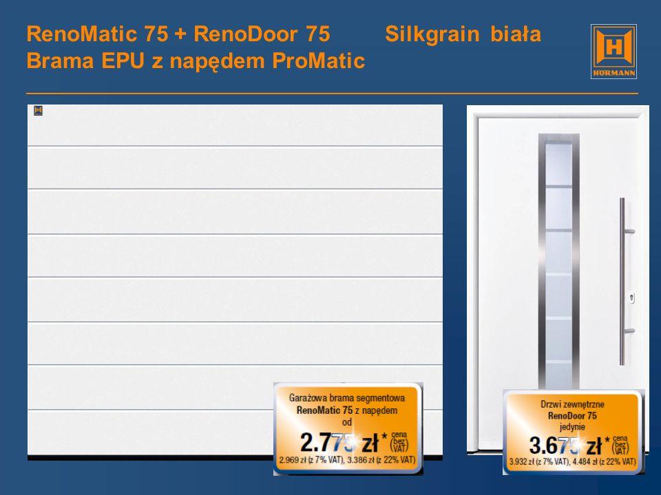 RenoMatic 75 + RenoDoor 75 Silkgrain biała Brama EPU z napędem ProMatic