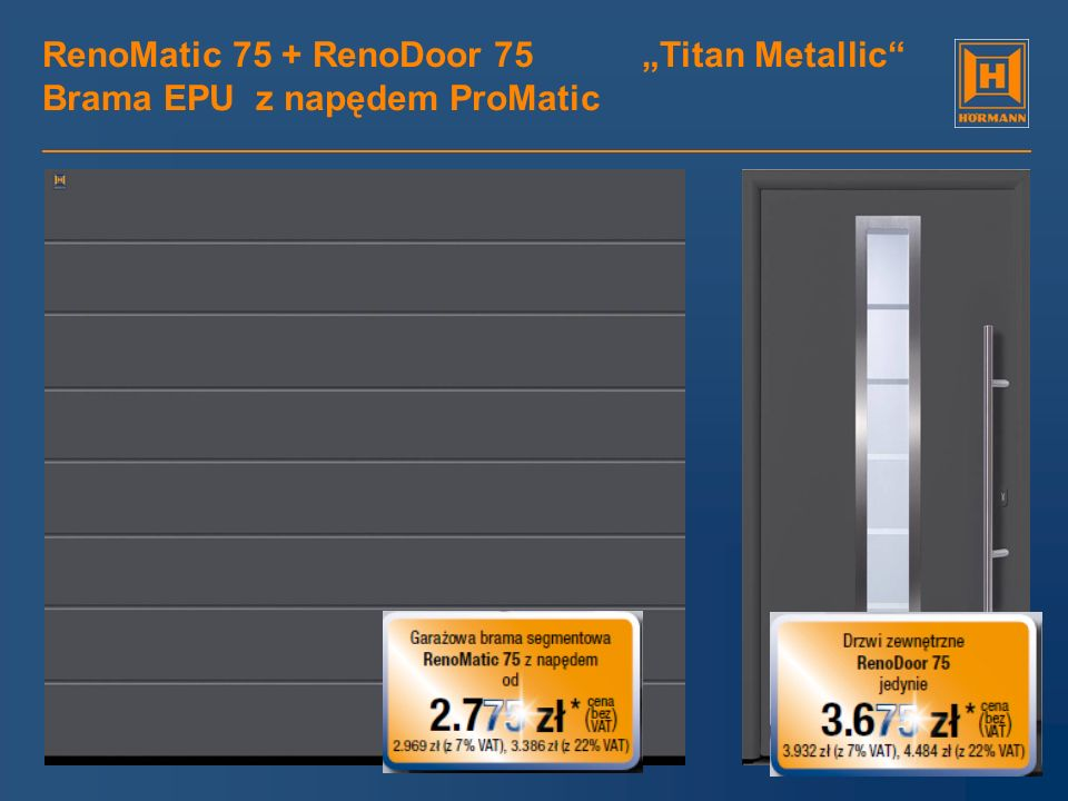 "RenoMatic 75 + RenoDoor 75 ""Titan Metallic Brama EPU z napędem ProMatic"