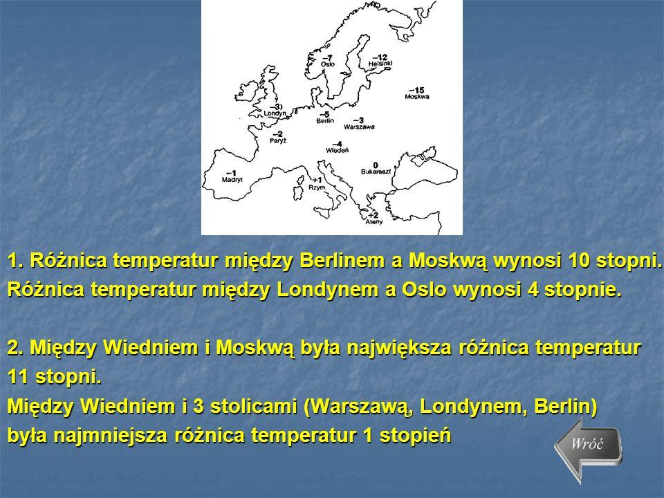 1. Różnica temperatur między Berlinem a Moskwą wynosi 10 stopni.