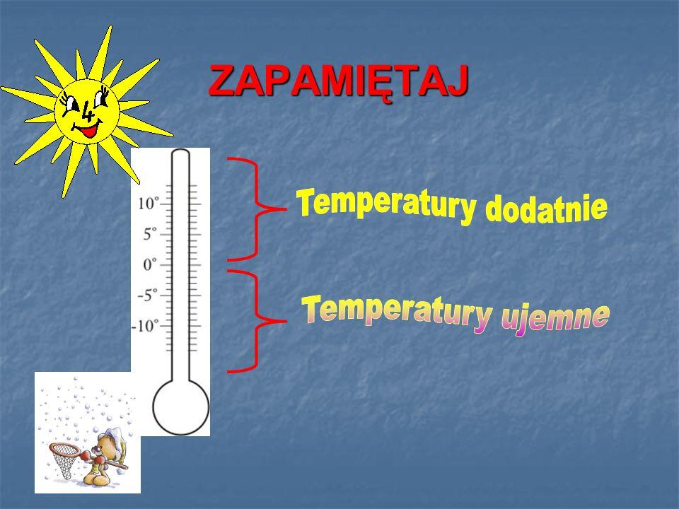 ZAPAMIĘTAJ Temperatury dodatnie Temperatury ujemne